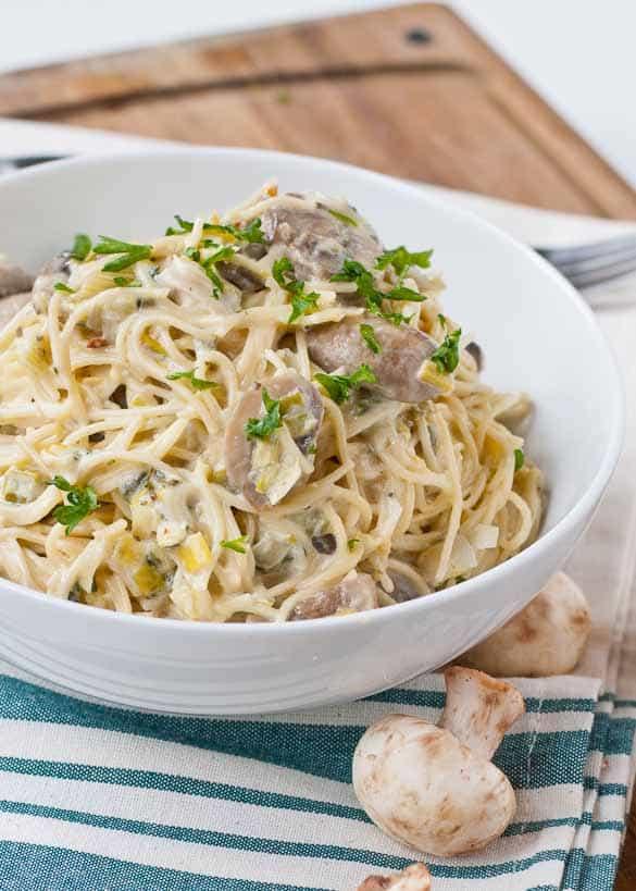 Pasta of the Month  Leek & Mushrooms Spaghetti Carbonara
